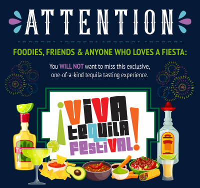Infographic for 2nd Annual Viva Tequila Festival in Piedmont Park, Atlanta on October 26, 2019. Get tickets at www.vivatequilafestival.com.