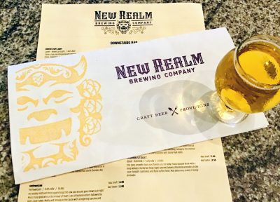 New Realm Brewing Company's menu and a beer.